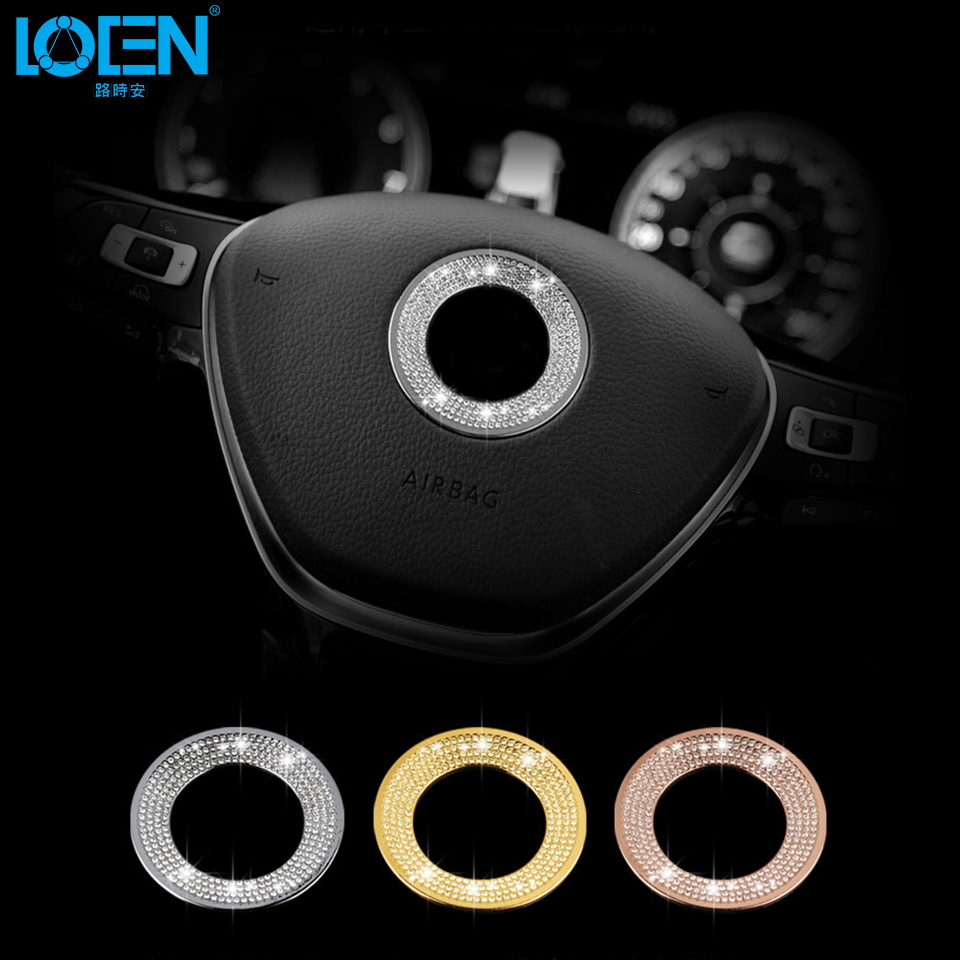 1PC Zinc Alloy Rhinestones Car Steering Wheel Decorative Circle ring for passat Polo Golf Tiguan Jetta Touran CC boraT5 all