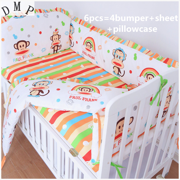 Promotion! 6pcs Baby crib bedding set 100% cotton bumpers for cot bed baby bedclothes (bumpers+sheet+pillow cover)