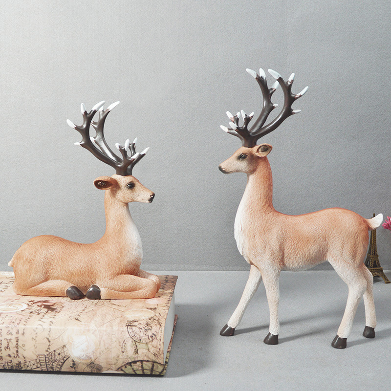 Nordic Modern Elk Large Resin Statue Hand Color Painted Deer Animal Figurine Living Room Ornaments Creative Gift Home Decoration
