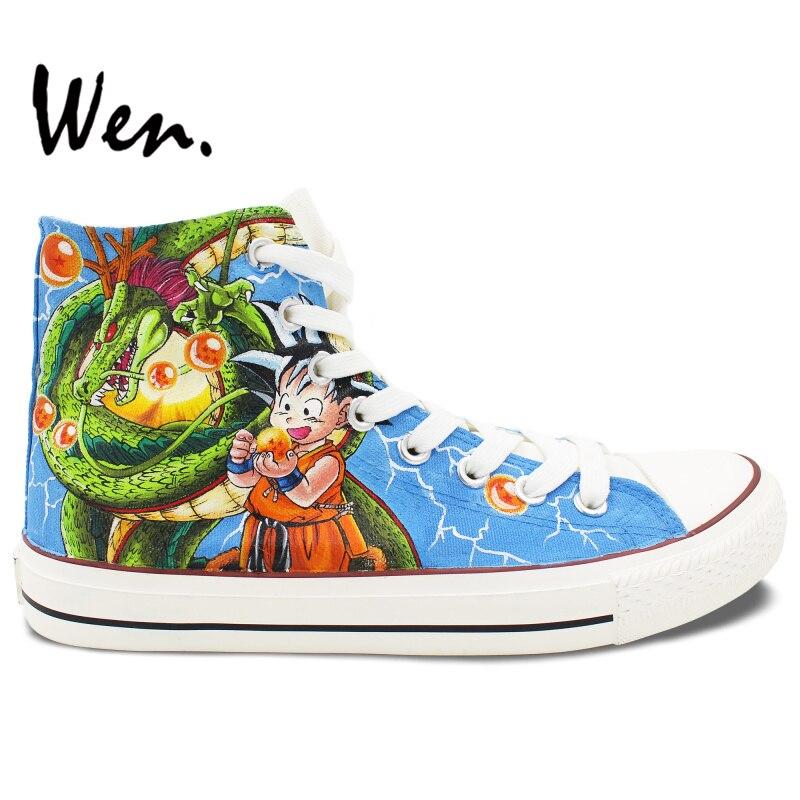 Prix pour Wen Peint À La Main Chaussures Anime Dragon Ball Personnages High Top Toile Sneakers Hommes Femmes D'anniversaire de Cadeaux De Noël