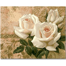 WEEN White Roses-Frame DIY Painting By Numbers, Wall Art Picture, Acrylic Paint, Canvas For Home Decoration 40x50c