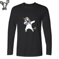 BTS Funny Aminal Long Sleeve T Shirt Women Kawaii Cartoon Print Horse Tshirt Women Cotton Fashion