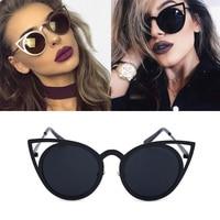 Beyond Star Vintage Cat Eye Sunglasses Mirror Women UV400 Fashion Girls Black Sun Glasses Black Sunglasses