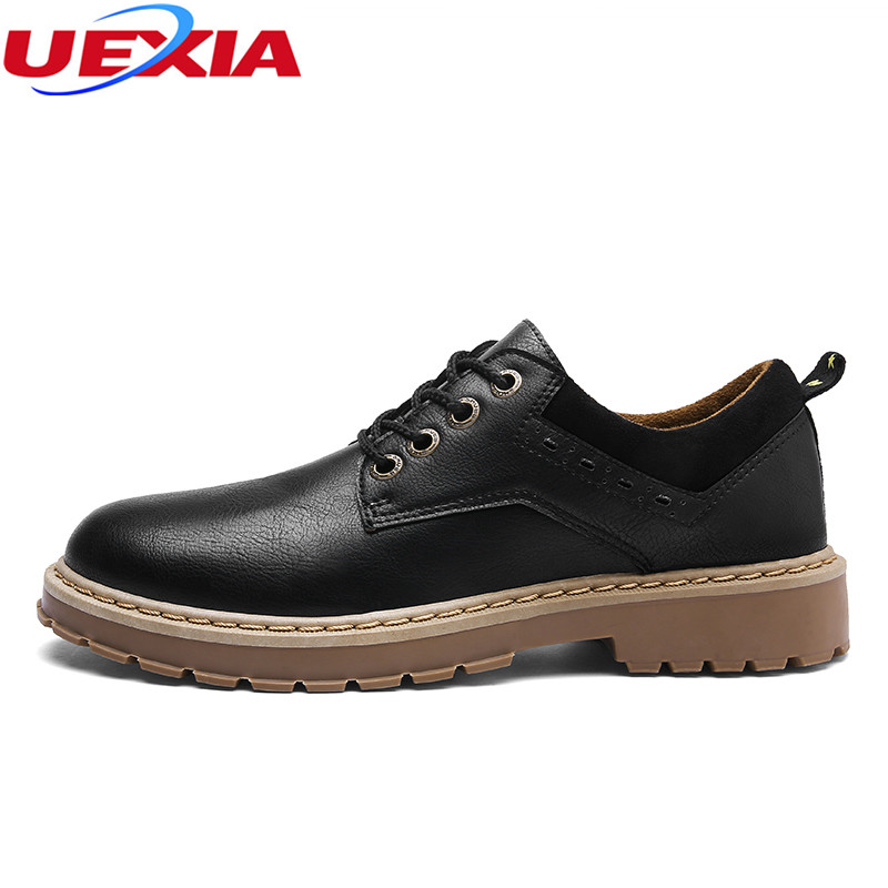 UEXIA Patent Leather Men Casual Shoes Business Walking Shoes Quality Brand Lace Up Flats Moccasins Shoes Men Comfortable Fashion genuine leather men casual shoes plus size comfortable flats shoes fashion walking men shoes