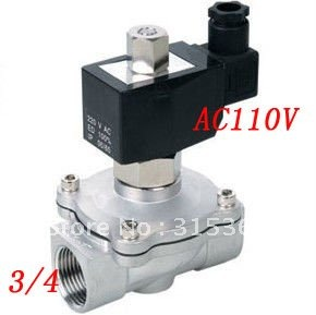 Free Shipping 5PCS/Lot 3/4' Normally Open Oil Acid Solenoid Valve VITON Stainless Steel AC110V цена 2017