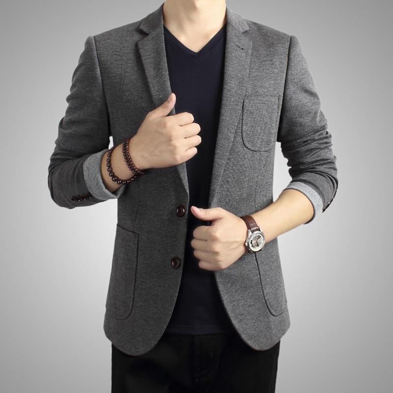 2014 Spring Autumn Men's Slim Fit Grey Black Suit Collar Long ...