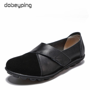 Image 4 - dobeyping New Spring Autumn Shoes Woman Genuine Leather Women Flats Slip On Womens Loafers Female Sewing Shoe Large Size 35 44