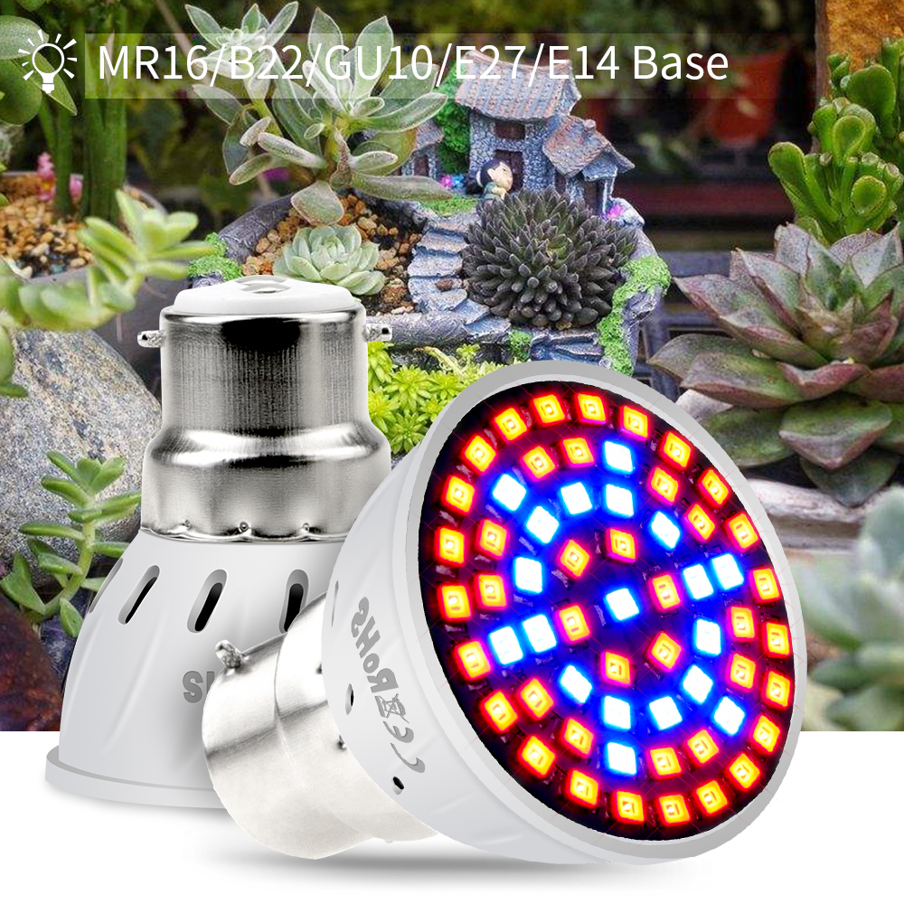 CanLing GU10 LED 220V Plant Lamp E27 Grow Light E14 Full Spectrum Fitolamp Led 3W MR16 Phyto Lamp For Indoor Plants Seeds Flower