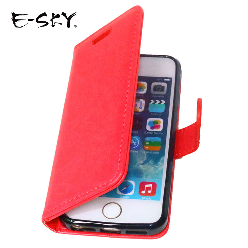 E-SKY PU mobile phone case 3 card slots wallet phone shell flip stand design anti-drop phone cover card holder for iphone5 5s