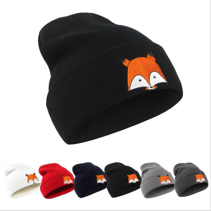 Fashion Knitted   Beanies   Women Embroidery Fox Warm Winter Hats 2019 Cotton Hats Unisex   Skullies     Beanies   Bonnet Femme
