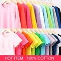 Otoño Nuevo 100% de Algodón Niños Camiseta Del Color Del Caramelo de Largo Muchachas de Los Bebés Camiseta de Los Niños Jerseys de manga Camiseta de la Muchacha Niños ropa