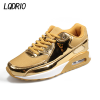 2017 Gold Silver New PU High Quality Men Women Lovers Running Sports Shoes Air Jogging
