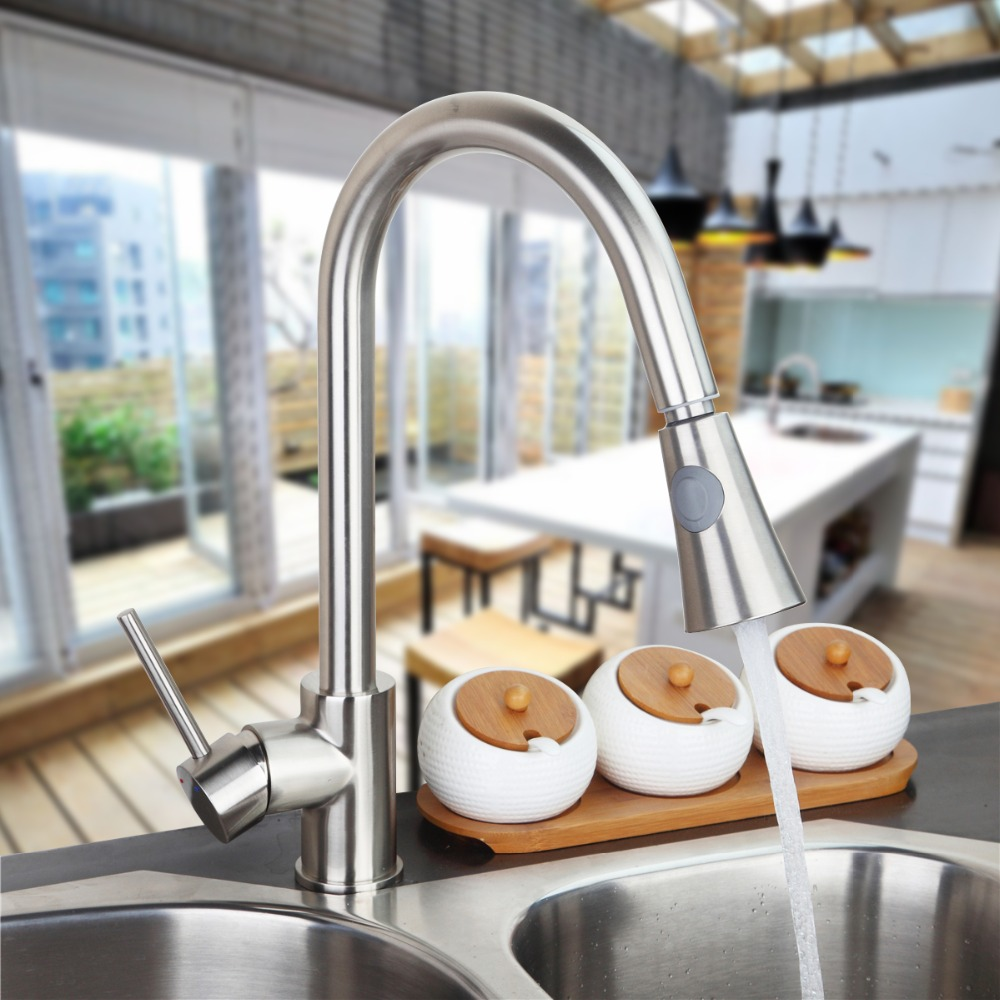 Wholesale And Retail Luxury Brushed Nickel Kitchen Faucet Single Handle Hole Vessel Sink Mixer Tap Pull