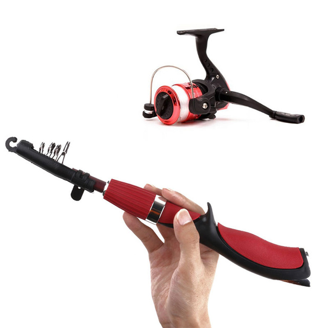 Mini Gun Stlye Winter Fishing Rods Combo Ice Fishing Rod Sea with Fishing Reel Outdoor Spinning Casting Fishing Reel Tackle Set