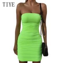 цена на TIYE Sexy Women Summer Bodycon Bandage Slim Dress Elegant Off Shoulder Sleeveless Solid Pleated Mini Dress Tight Nightclub Wear