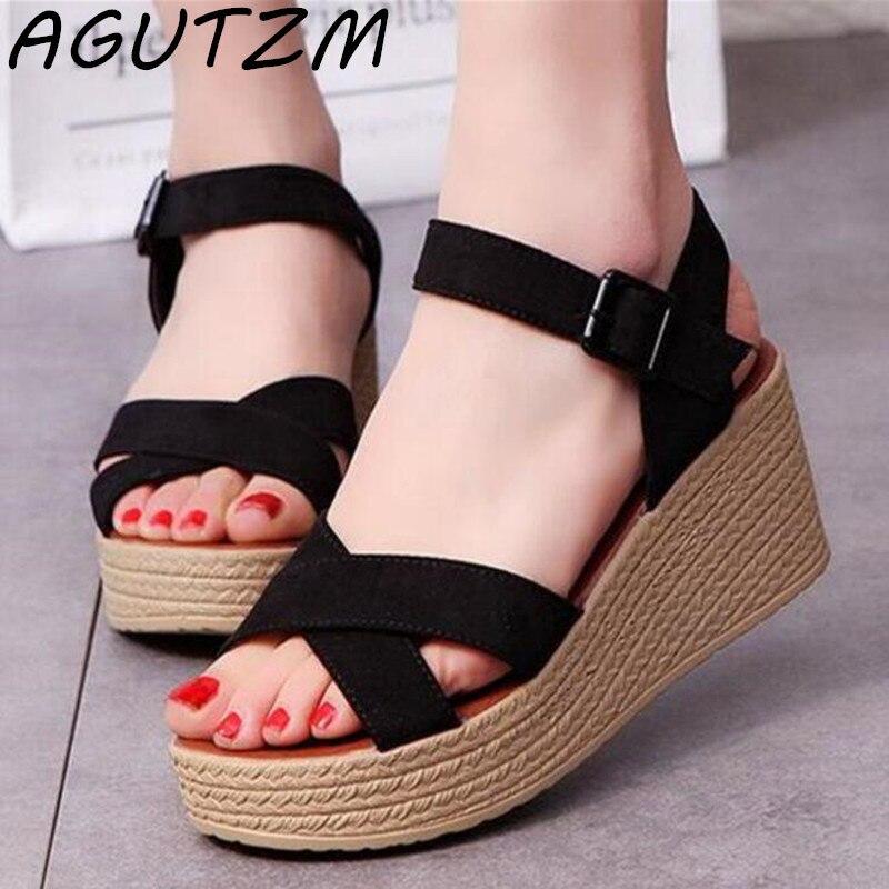 AGUTZM Sandals Women Summer Suede Leather Strap Sandals Shoes Female Sandals Espadrilles Wedge Women Low Heels Sandals Gladiator
