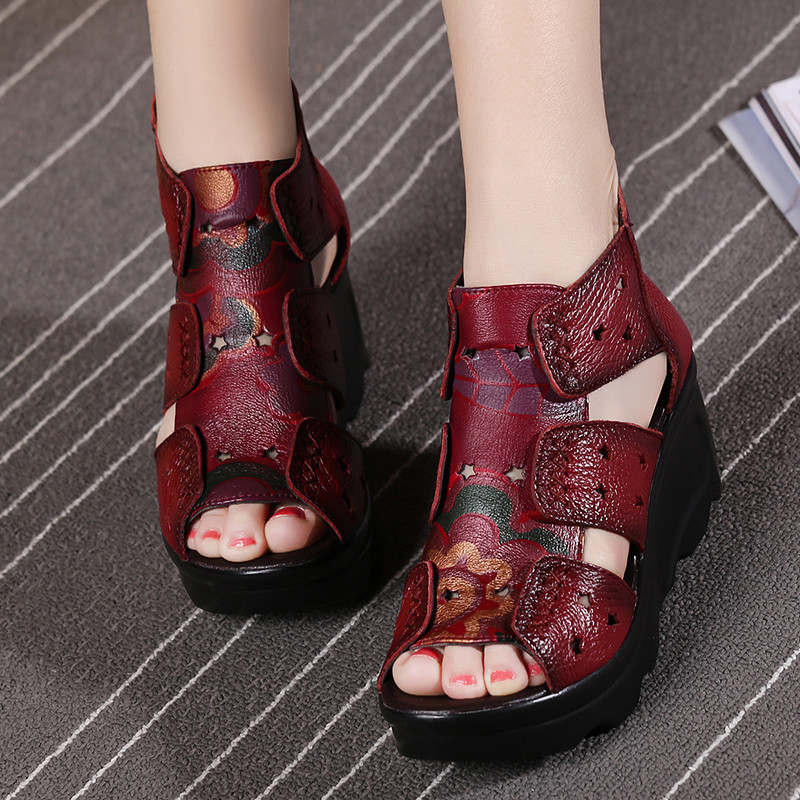 GKTINOO 2020 Ethnic Style Genuine Leather Women Shoes Sandals Wedges Sandals Handmade Genuine Leather Women Sandal