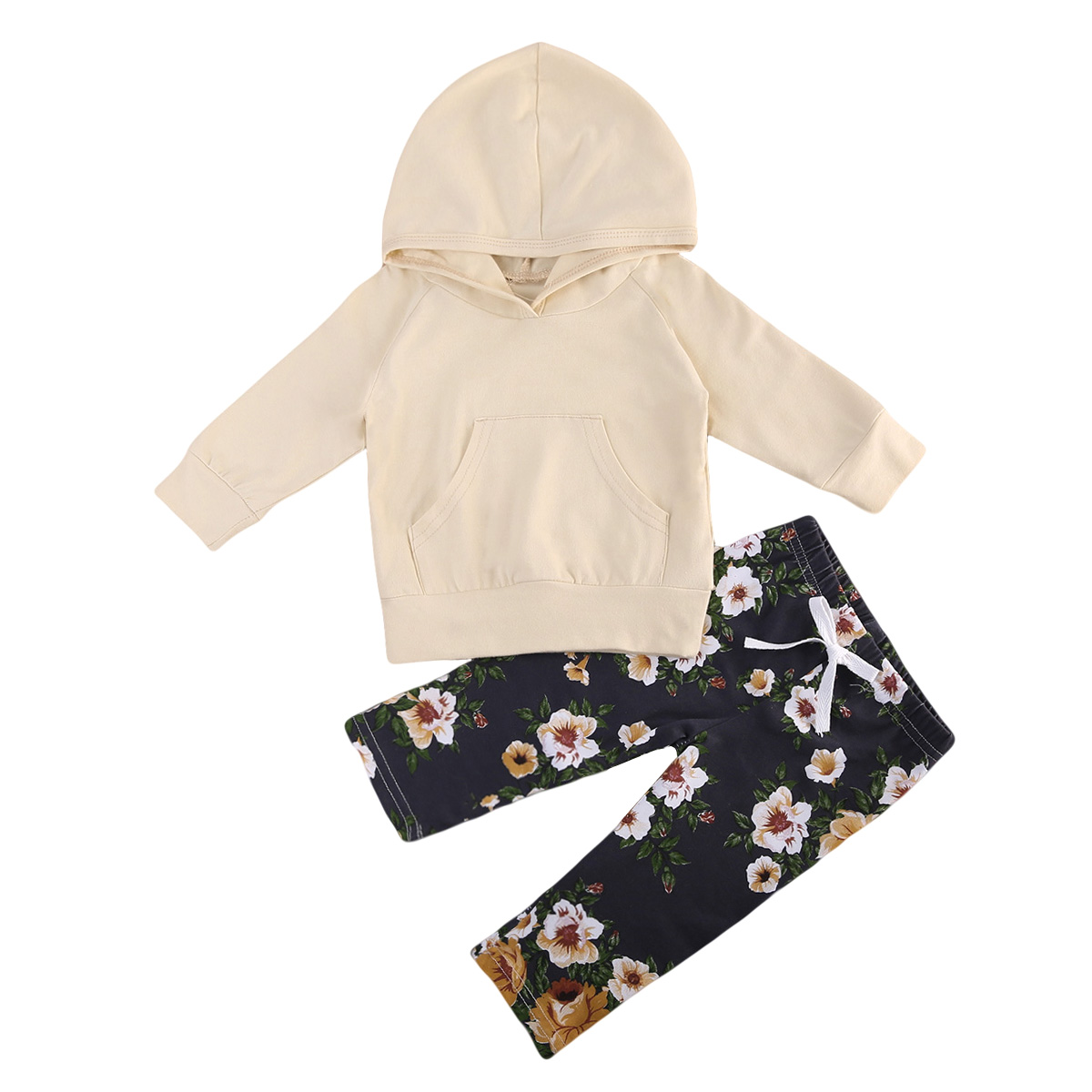 0-18M Newborn Baby Kids Girls Clothes Long Sleeve Hooded Tops Floral Long Pants Outfits Set 2018 Spring Autumn