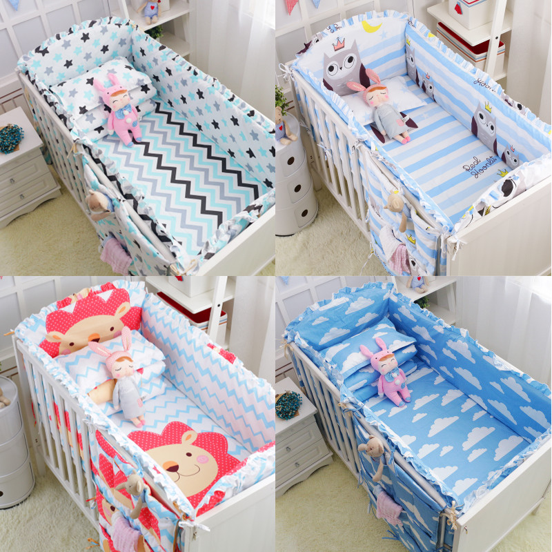 Dropshipping 6PC 100%Cotton Baby Crib Bumpers Bedding Cartoon Baby Bedding Sets Bed Safety Baby Fence Bed Sheets Newborn Bumper-in Bumpers from Mother & Kids    2