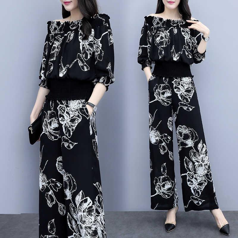 สาม Quarter Sleeve Slash คอผู้หญิงด้านบนและขากว้างกางเกงเต็มพิมพ์ดอกไม้ Elegant VINTAGE ฤดูร้อนผู้หญิงชุด