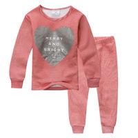 Girls Thermal Nightwear Horizontal Stripe Kids Pajamas Velvet Thickening Child Clothes Sets Next Clothing Style Snuggle