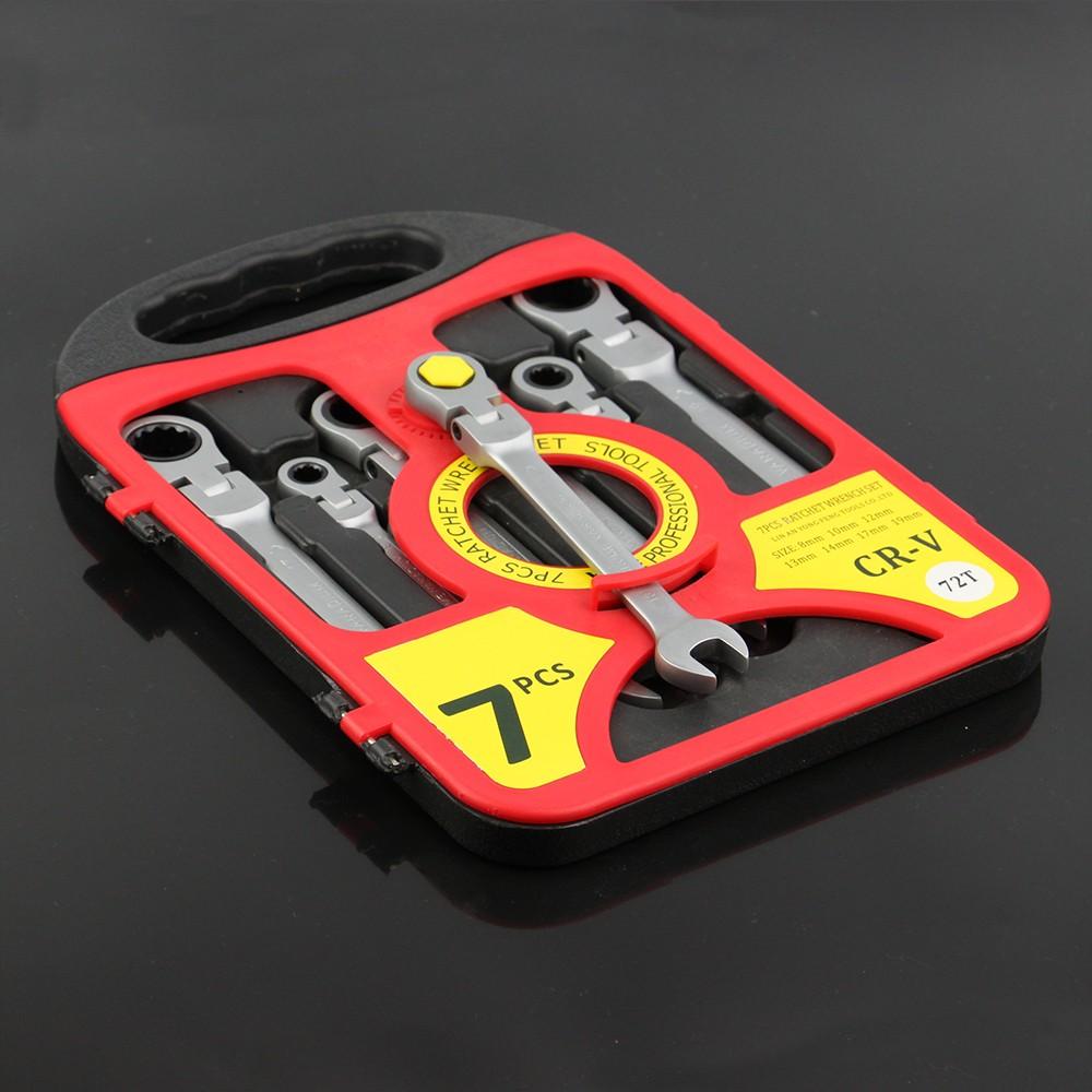 Купить HRTools 7 шт. метрическая flex глава ratcheting ключ комбинированный набор, ratchet spanner set, 8-19 мм набор ключей дешево