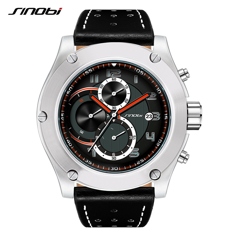 New Brand SINOBI Watches Men Sport Watches Men's Quartz Clock Man Chronograph Wrist Watch Military Dial Relogio Masculino weide popular brand new fashion digital led watch men waterproof sport watches man white dial stainless steel relogio masculino