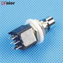 Кнопочный переключатель на два полюса M12X0.75, с фиксацией/мгновенным включением, 6 Pins, DPDT, переключатели для педалей для гитарных эффектов, 2 шт...