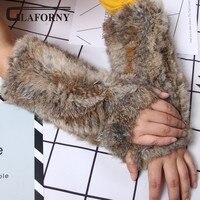 Glaforny 2018 New Women Fashion Rabbit Fur Gloves Hand Made Knitted Winter Fur Fabric Real Rabbit Fur Gloves Mittens Handwear