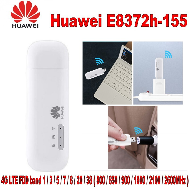100% original Huawei débloqué E8372 LTE USB Wingle LTE universel 4G USB WiFi Modem voiture wifi E8372h-155 pour ordinateur portable