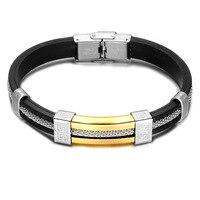 Venda quente da moda jóias tecelagem corda de couro pulseira de energia pulseira de energia de aço inoxidável dos homens da moda pulseira