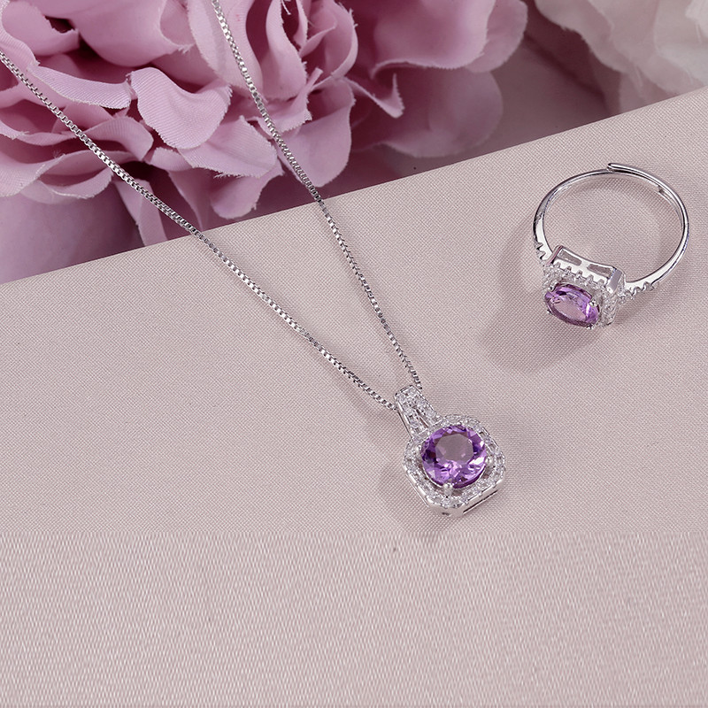 Fine Jewelry Sets For Women 100% 925 Silver Natural Amethyst Square Purple Gemstone Ring Necklace Pendant Set Accessories CCS008