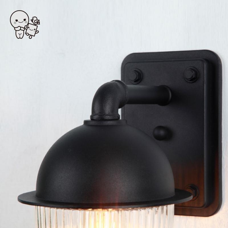 Extérieur étanche Mini noir en aluminium verre abat jour applique luminaire moderne applique luminaire pour balcon jardin E27 ampoule - 6