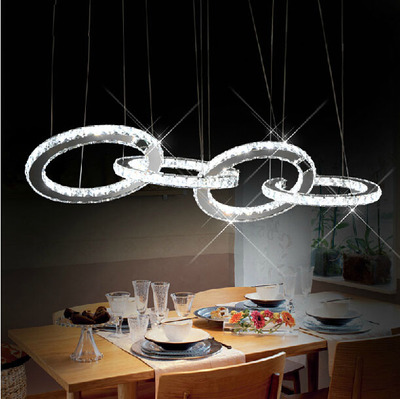 led crystal pendant lights k9 crystal four ring contemporary hanging lamp for home living room dining cheap modern pendant lighting