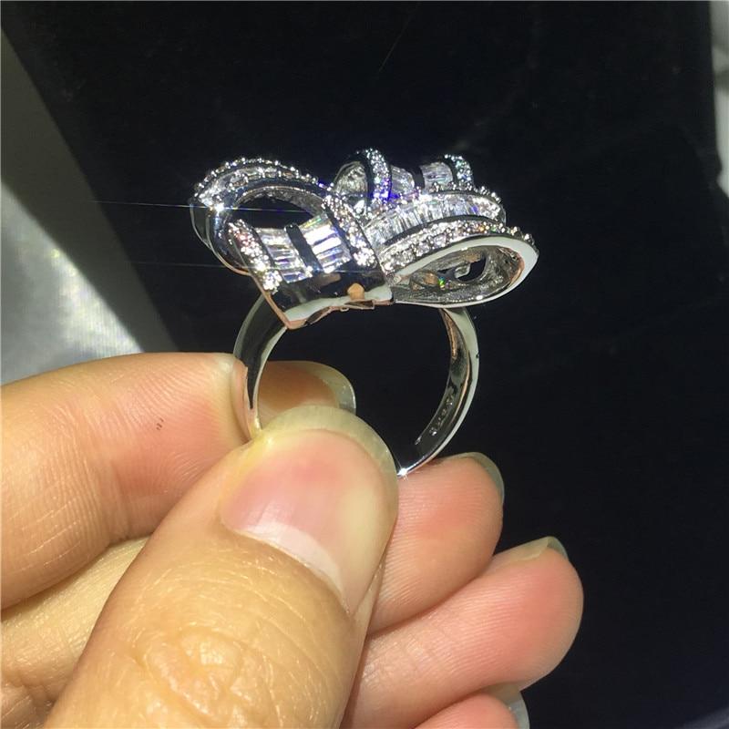 Bijoux de grande fleur élégant 925 bague en argent Sterling AAAAA Zircon Cz bagues de mariage de fiançailles pour les femmes cadeau de doigt de mariée - 2