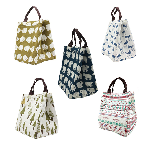 Cute Printting Picnic Bags Outdoor Handbag Oxford Cloth Ice Pack Zipper Thermal Insulation Lounge Style Handbag Keep Temperature