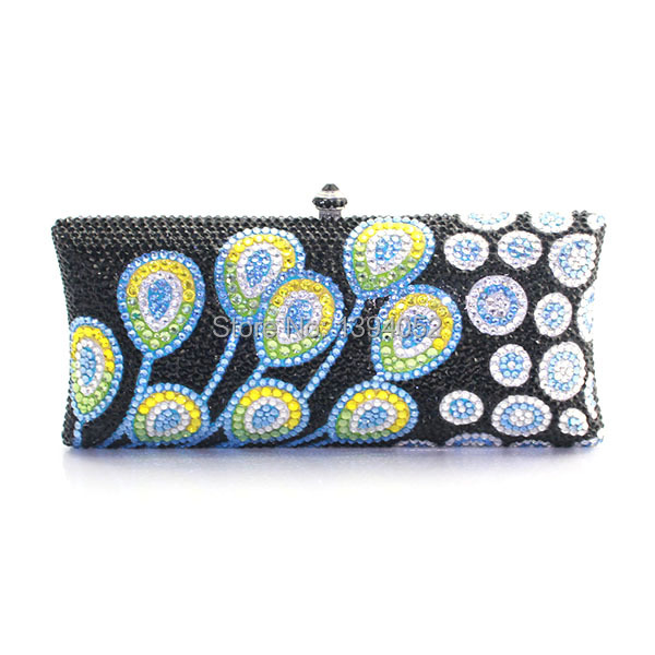 Delicate Handmade Rhinestone Ladies Clutch Purse flower pattern clutch purse evening bag