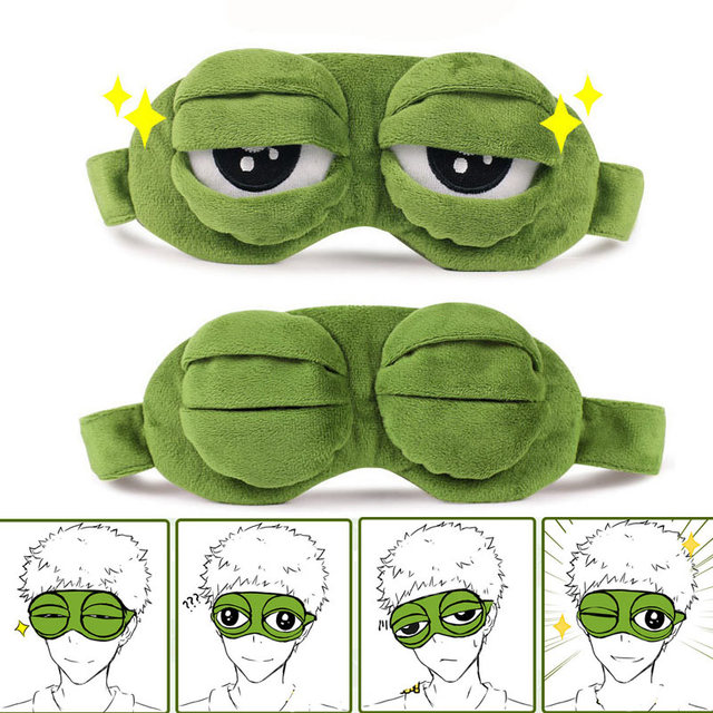 da58003824 Funny Creative Pepe the Frog Sad Frog 3D Eye Mask Cover Cartoon Plush  Sleeping Mask Cute