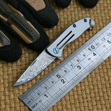 Ben Mini small F95 Damascus Pattern blade 95 folding knife Titanium outdoor camp hunting pocket fruit kitchen knife EDC tool