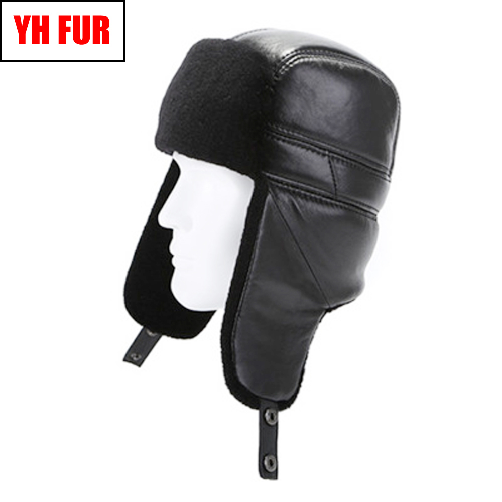 Bomber Hats Winter Real Men Protect Ears Real-Sheepskin-Leather Natural