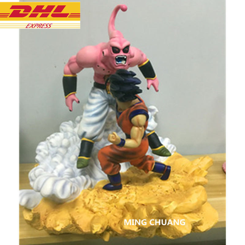 Dragon Ball Statue Super Saiyan Son Gohan Bust VS Majin Buu Partner Full-Length Portrait Son Goku Son GK Action Figure Toy D252