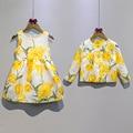 2016 auutmn niños que arropan el sistema niñas y abrigo 2 unids floral tulip impreso abrigo de manga larga y vestido de los niños ropas tops