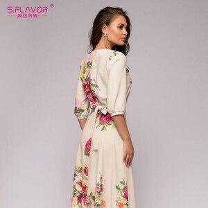 Image 4 - S.FLAVOR Floral Printed Women Long Dress Bohemian Style Autumn Maxi Vestidos De 2020 Winter Women Casual Dress