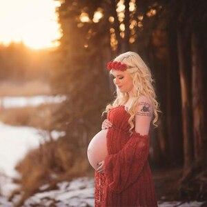 Image 4 - Vestidos de encaje de maternidad volantes abertura frontal vestido para fotografía Maxi fotografía de embarazada vestido Maxi de maternidad