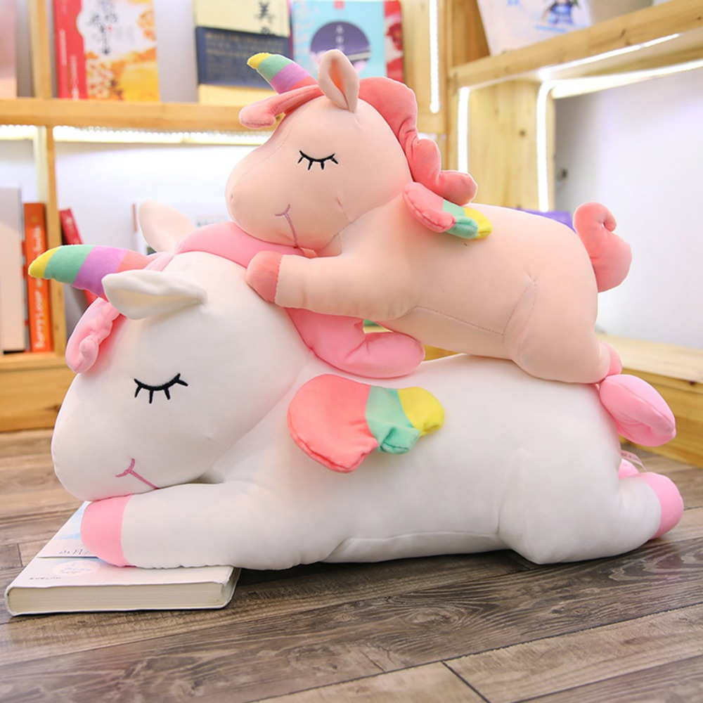 unicorn plush toy cute pink white unicorn soft pillow stuffed animal soft doll children toys baby kids appease doll girl's gift цены