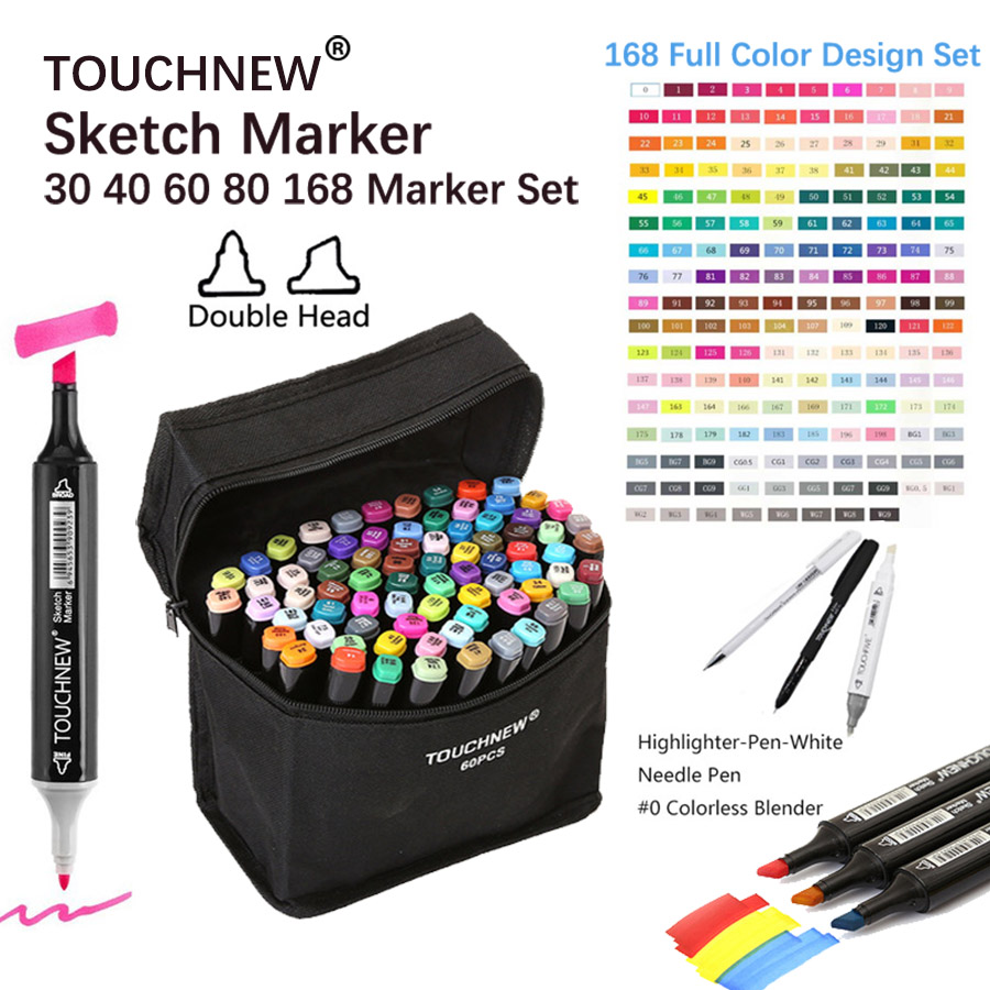 TOUCHNEW 80 Markers Artist Dual Head Art Sketch Markers Set For Manga Marker School Drawing Marker Pen Design Supplies for Kids dainayw 12 cool grey colors marker pen grayscale dual head art markers set for manga design drawing school student supplies