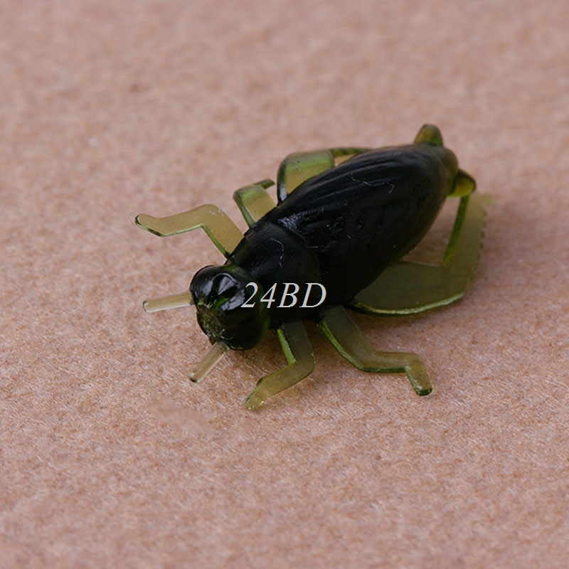 Outdoor Soft Fishing Lures Simulation Cricket Insect Shape Baits 2.5cm 100PCS/SET S29