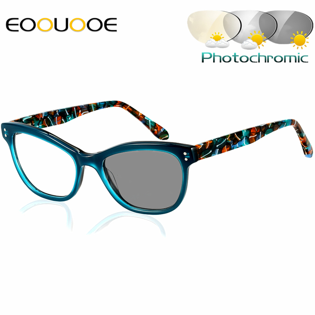 616c92b62b2 EOOUOOE Acetate Photochromic Reading glasses Women Presbyopia Eyeglasses  sunglasses discoloration with diopters 1.0 1.25 1.50