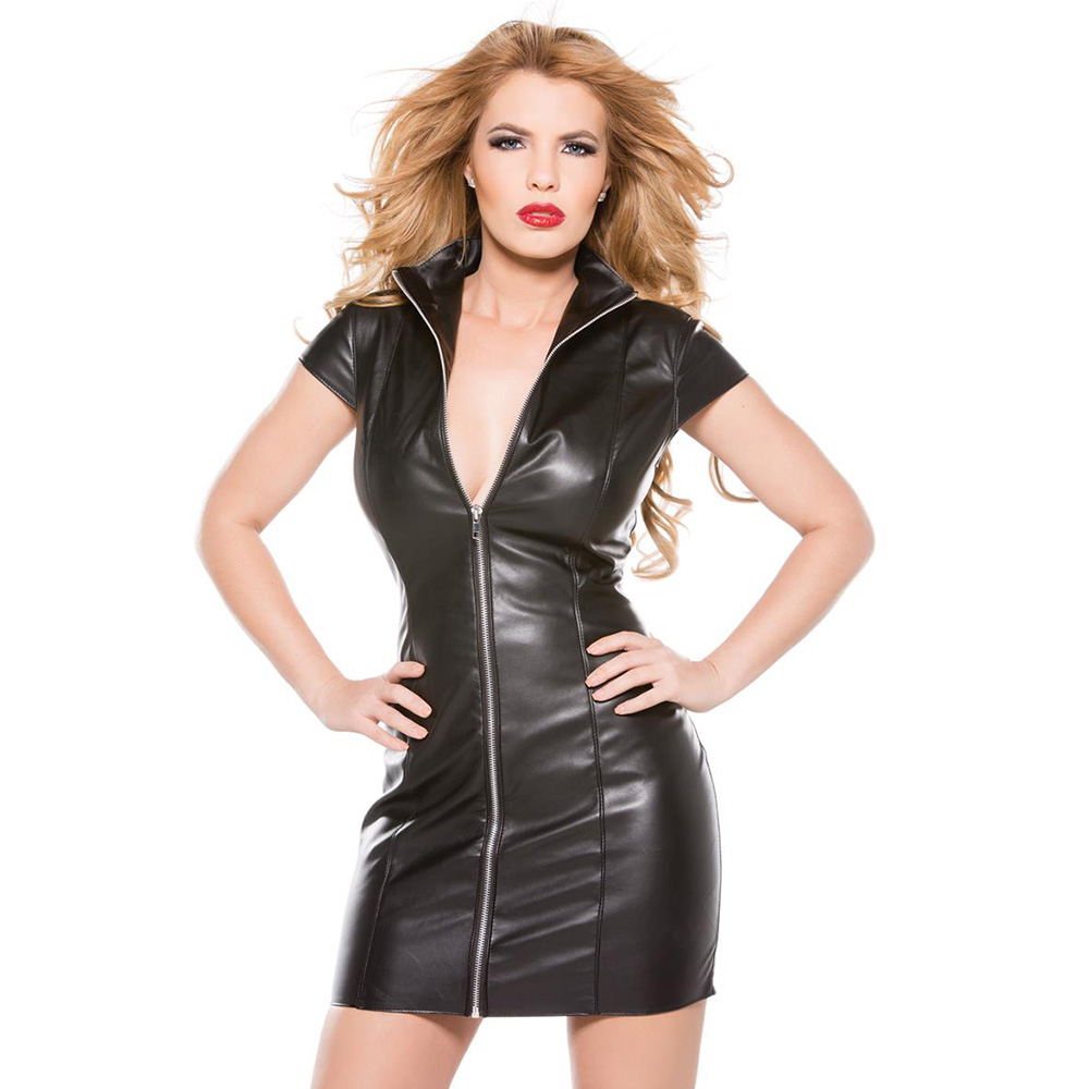 Sexy Black Faux Leather Club Dress Turn Down Neck Short Sleeve Vinyl Vedtido De Festa Zipper Front Nightclub Mini Bodycon Dress