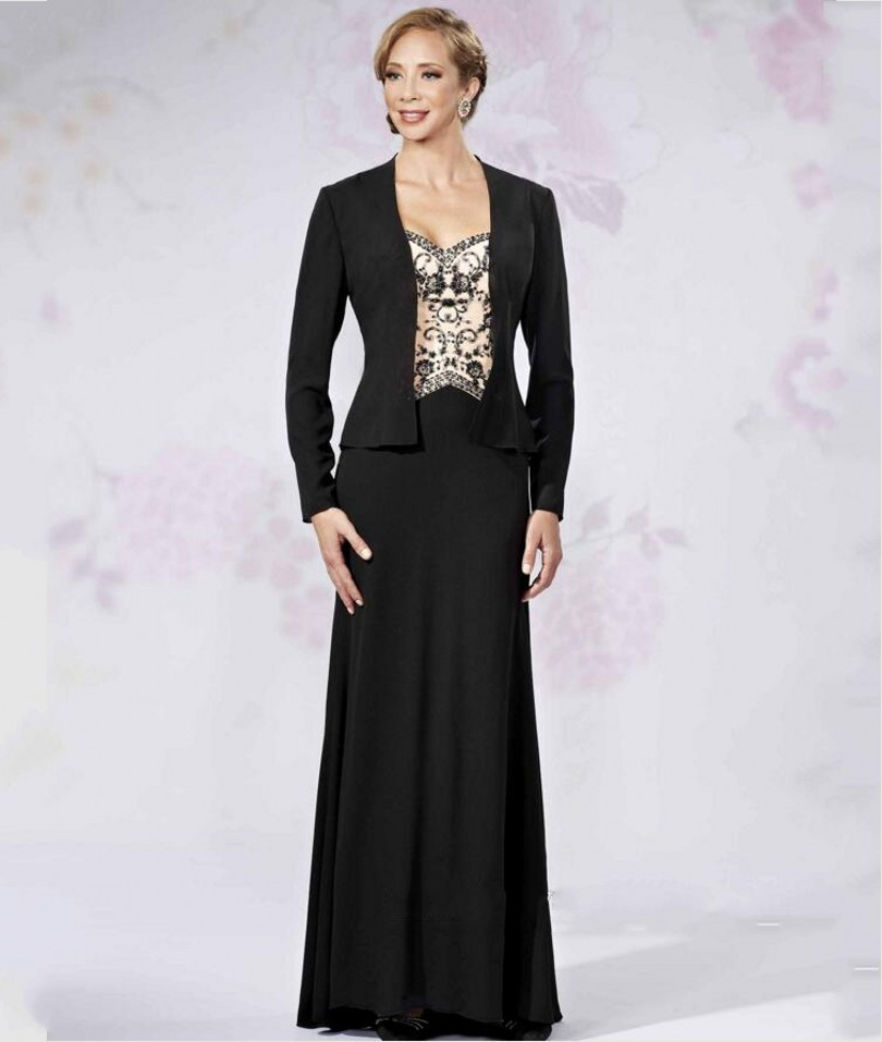 Anti black mother of the bride dresses with jacket plus for Elegant wedding party dresses